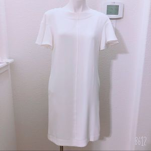 TAHARI IVORY RUFFLE SLEEVE MIDI DRESS SIZE 6 NWT